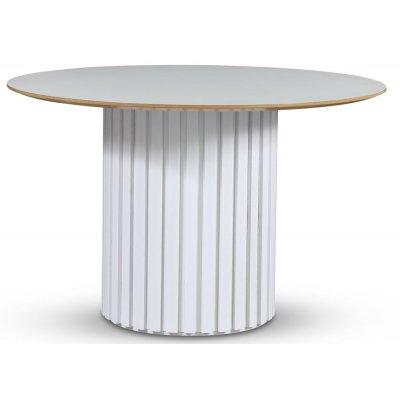 Empire matbord - Perstorp ljus laminat 118 cm / Vit lamell träfot