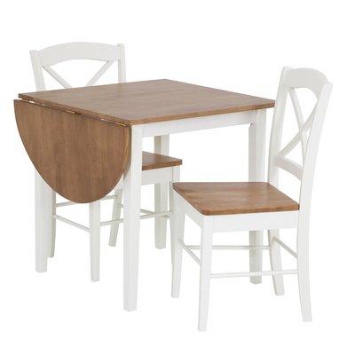 Matgrupp: Merida bord med 1 klaff - Vit / ek - 75 / 111 cm + stolar
