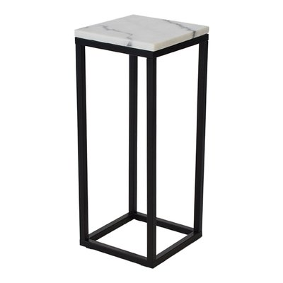 Accent sängbord/piedestal 65 - Vit marmor / svart underrede