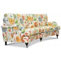 Savoy 3-sits svängd soffa med blommigt tyg - Havanna Vit