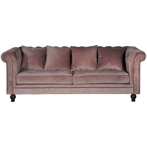 Chesterfield 3-sits soffa Churchill - Rosa Sammet